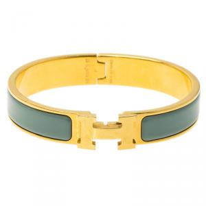 Hermes Clic Clac H Lagoon Blue Enamel Gold Plated Narrow Bracelet GM