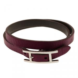 Hermès Hapi 3 MM Purple Leather Palladium Plated Wrap Bracelet GM