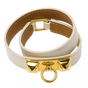 Hermes Rivale Double Tour White Leather Gold Plated Bracelet XS