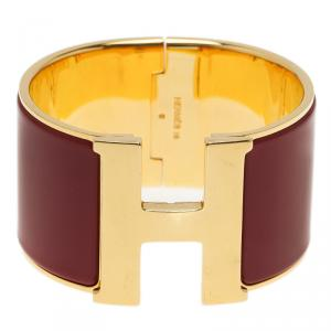 Hermes Clic Clac H Extra Wide Red Enamel Gold-Plated Bracelet PM