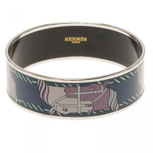 Hermes H Horse Printed Blue Enamel Palladium Plated Wide Bangle 21cm