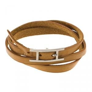 Hermès Hapi 3 MM Brown Leather Palladium Plated Bracelet
