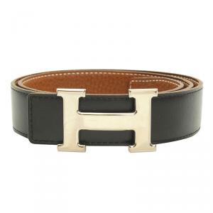 Hermes Black and Brown Leather H Buckle Reversible Belt 80CM