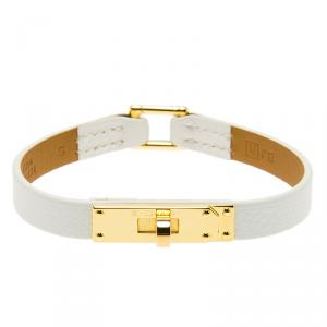 Hermes Micro Kelly White Leather Gold Plated Narrow Bracelet PM