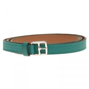 Hermes Etrivière Double Tour Green Leather Bracelet XS