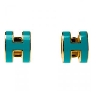 Hermes Pop H Turquoise Lacquered Gold Plated Stud Earrings
