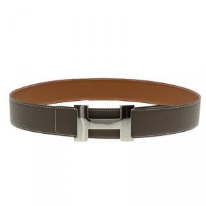 Hermes Brown/Beige Leather Palladium Contance Reversible Belt 90 CM