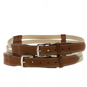 Hermes Beige/Brown Leather Double Etriviere Belt 70 CM