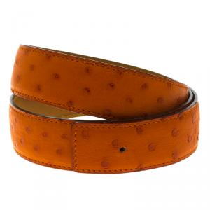 Hermes Orange Ostrich Belt Strap 85 CM