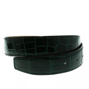 Hermes Green Porosus Crocodile Leather Belt Strap 90 CM