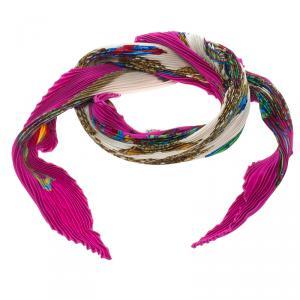 Hermes Multicolor Printed Plisse Silk Les Rubans Du Cheval Diamond Scarf