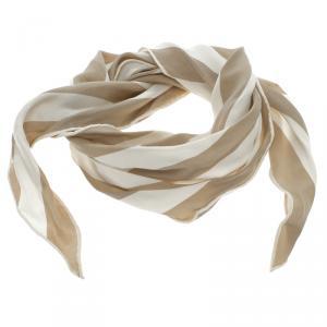 Hermes Beige and White Striped Silk Diamond Scarf