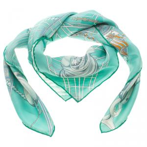 Hermes Tuiga Mint Green Printed Silk Square Scarf