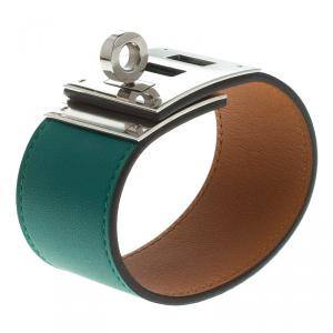 Hermes Kelly Dog Green Leather Palladium Plated Wide Bracelet