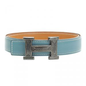 Hermes Blue and Brown Leather Touareg Buckle Belt 80CM