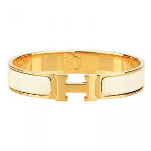 Hermes Clic-Clac H Cream Enamel Gold Plated Bracelet