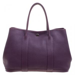 Hermes Purple Cassis Togo Leather Garden Party MM Tote