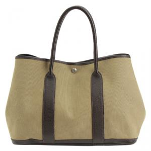 Hermes Bi color Canvas Garden Party Tote Bag