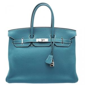 Hermes Blue Azure Clemence Leather Palladium Hardware Birkin 35 Bag