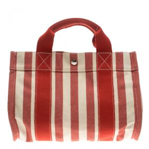 Hermes Red and White Striped Canvas Cannes PM Beach Tote