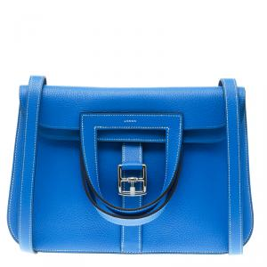 Hermes Bleu Electrique Clemence Leather Halzan 31 Bag