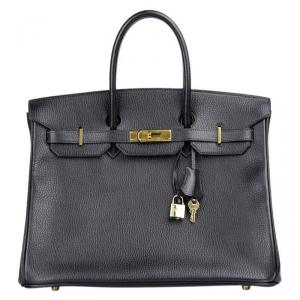 Hermes Noir Ardennes Leather Gold Hardware Birkin 35 Bag