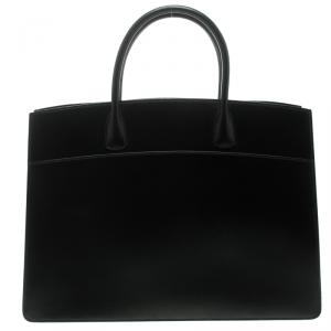 Hermes Black Box Calf Leather White Bus Tote