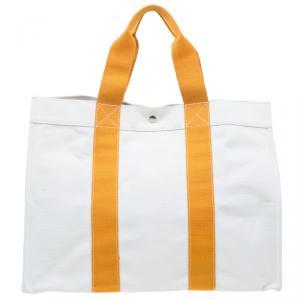 Hermes Beige and Orange Bora Bora Large Tote Cabas Shopper Bag