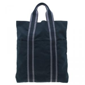 Hermes Black Canvas Fourre-Tout Shopping Bag Tote