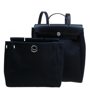 Hermes Black Herbag 2 in 1 tote and handbag Convertible Satchel