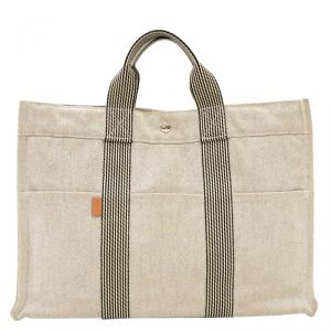 Hermes Natural Toile Canvas Fourre-Tout Tote MM