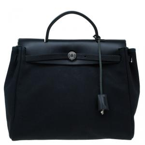 Hermes Beige/Black Canvas and Vache Calfskin Leather 2-in-1 Herbag PM Bag