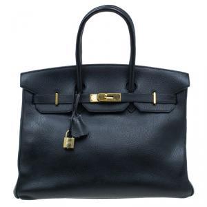 Hermes Noir Togo Leather Gold Hardware Birkin 35 Bag