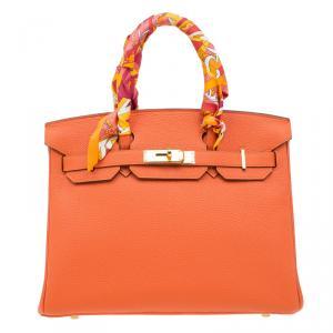 Hermes Orange Togo Leather Gold Hardware Birkin 30 Bag with Twilly Scarf