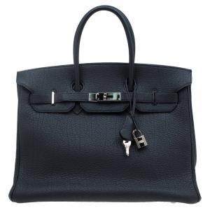 Hermes Noir Fjord Leather Palladium Hardware Birkin 35 Bag