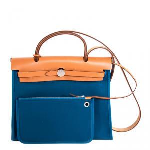 Hermes Bi Color Toile Canvas/Vache Leather Herbag Zip 31 Bag