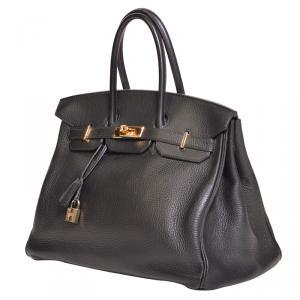 Hermes Noir Taurillon Clemence Leather Gold Hardware Birkin 35 Bag