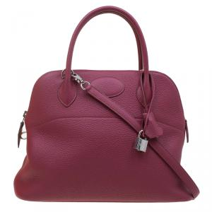 Hermes Ruby Clemence Leather Palladium Bolide 31 Bag
