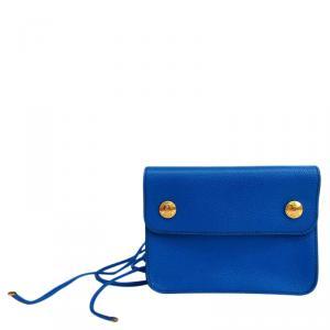 Hermes  Blue Couchevel Pochette Green Bumbag