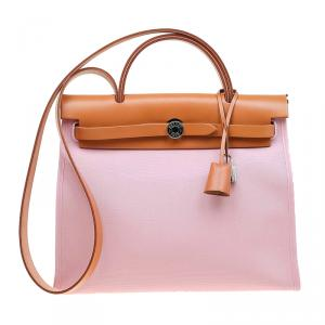 Hermes Pink Canvas Vacheta Leather Herbag Zip 31 Bag