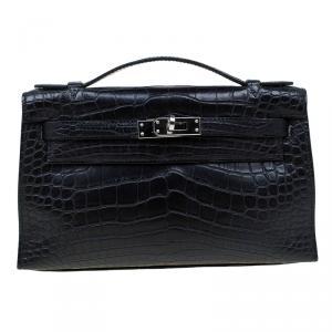 Hermes Black Alligator Palladium Kelly Pochette