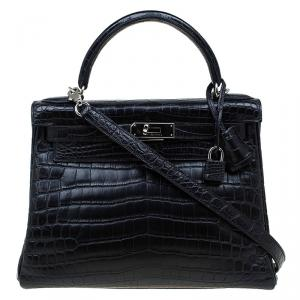 Hermes Black Niloticus Crocodile Palladium Hardware Kelly Retourne 28 Bag