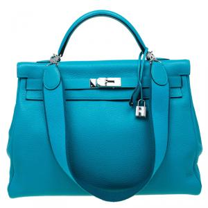 Hermes Turquoise Clemence Leather Palladium Hardware Kelly Retourne 40 Bag