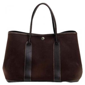 Hermes Brown Leather Garden Tote Bag