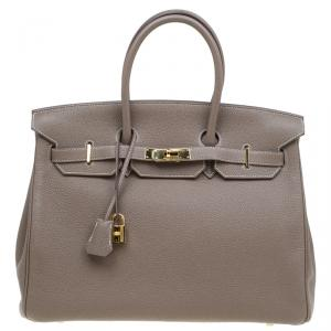 Hermes Etain Togo Leather Gold Hardware Birkin 35 Bag