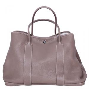 Hermes Grey Leather Garden Party MM Tote