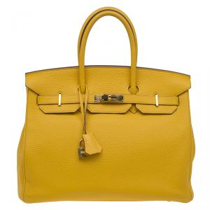 Hermes Yellow Clemence Leather Gold Hardware Birkin 35 Bag