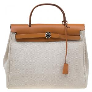 Hermes Tan/Beige Leather and Canvas Herbag 2 in 1
