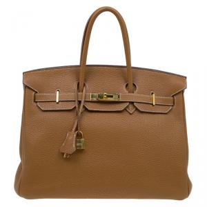 Hermes Cognac Togo Leather Gold Hardware Birkin 35 Bag