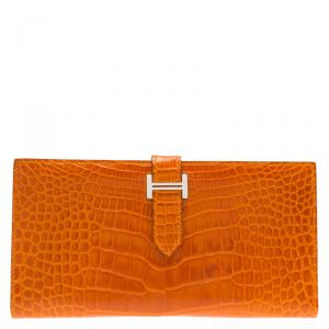 Hermes Orange Alligator Bearn Gusset Wallet